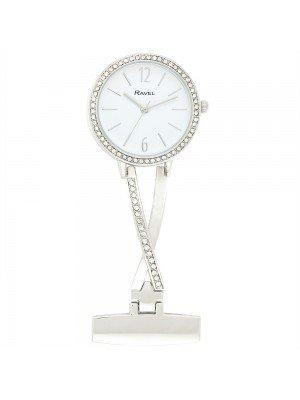 Ravel Nurses Fob Watch with Diamante - Silver & White