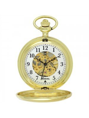 Ravel Polished Mechanical Pocket Watch - Gold