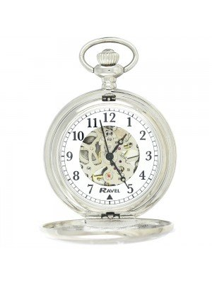 Ravel Polished Mechanical Pocket Watch - Silver