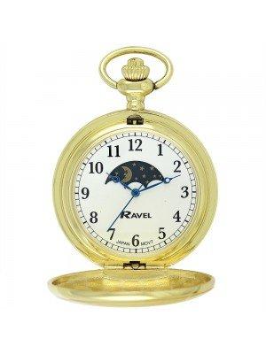 Ravel Polished Moon Design Pocket Watch - Gold