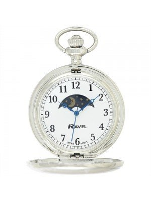 Ravel Polished Moon Design Pocket Watch - Silver
