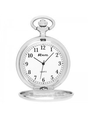 Ravel Polished Pocket watch with Chain - SIlver