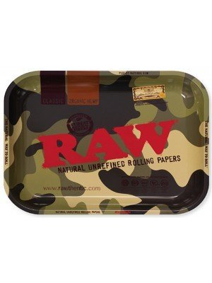 """RAW Large Rolling Metal Tray """"Camouflage"""" - 34 x 27.5cm"""