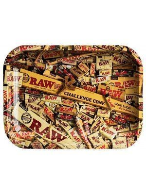 """RAW Large Rolling Metal Tray """"Mixed Products"""" - 34 x 27.5cm"""