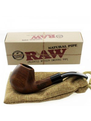 RAW Uncoated Wooden Smoking Pipe With Pouch