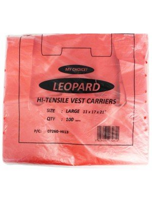 "Red Plastic Carrier Bags Small 11""x17""x21"""