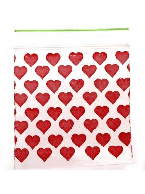 Wholesale Grip Seal Printed Baggies Red Heart 50mmx50mm