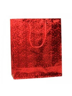 Wholesale Red holographic paper gift bag-21.5x18x7.5cm