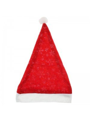 Red Velvet Santa Hat With Snowflakes