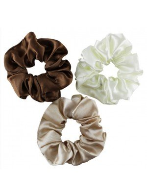 Regular Size Natural Coloured Satin Scrunchies - Assorted
