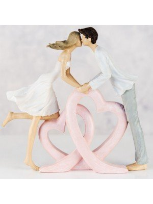 Wholesale Couple Kissing Double Heart Resin Figurine