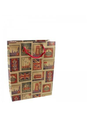 Retro UK Stamps Design Gift Bags - 11 x 15 x 6cm