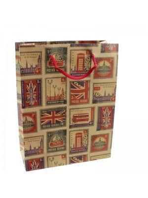 Retro UK Stamps Design Gift Bags - 19 x 24 x 8cm