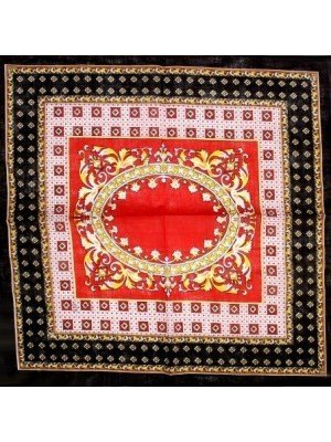 Retro Vintage Print Bandana - Red & Black Colour