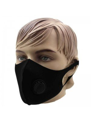 Reusable Stretchable Face Covering Mask With Valve- Black