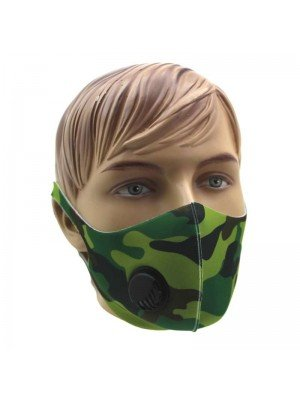 Reusable Stretchable Face Covering Mask With Valve- Green Camo
