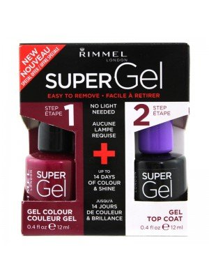 Wholesale Rimmel London Super Gel Nail Polish Duo Pack - Top Coat & Urban Purple