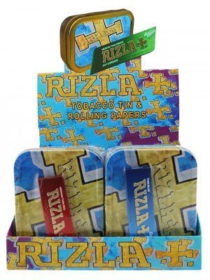 Wholesale Rizla 2 Oz Metal Tins & Rolling Papers - 10 Pcs(Blue/Gold)