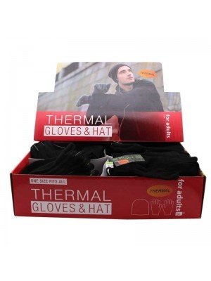 Wholesale Thermal Gloves and Hat - Black