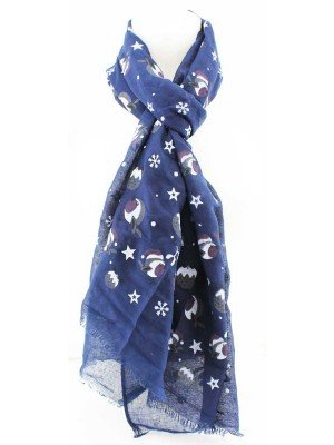 Wholesale Ladies Robin Design Cotton With Foil Scarf - Assorted Colours