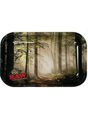 """Wholesale RAW Small Metal Tray """"Forest Design"""" - 27.5 x 18cm"""