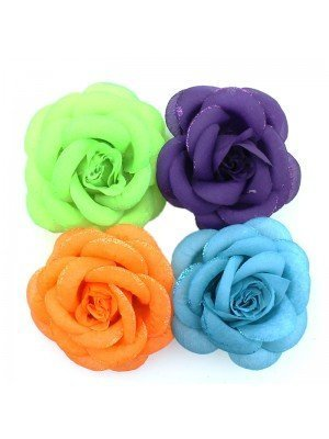 Rose Flower on Brooches and Clips- Bright Colours