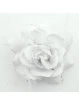 Rose Flower on Elastic and Clips - White