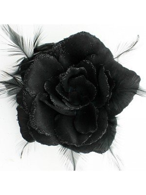 Rose Flower on Elastic and Clips- Black