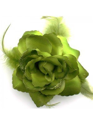 Rose Flower on Elastic and Clips- Green Tones