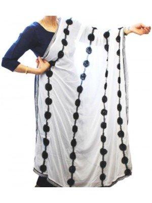 Wholesale Ladies Rose Design Nazneen Dupatta - Black & white