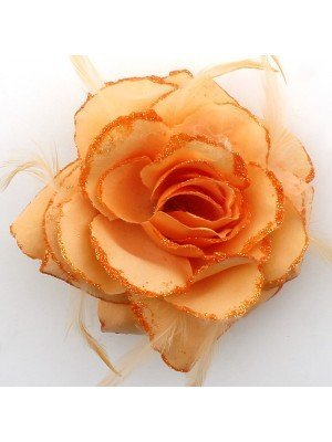Rose Design Flower on Elastic with Feathers - Coral Orange