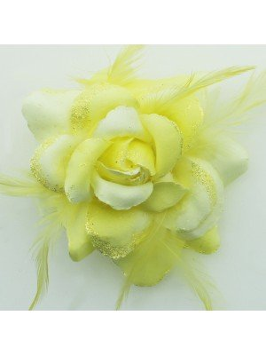 Rose Design Flowers on Clip and Elastic - Yellow