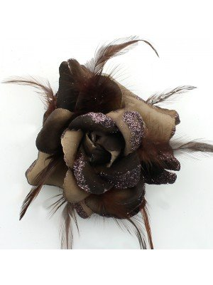 Rose Design Flowers with Feathers - Chocolate Brown