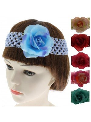 Rose Design Headbands - Assorted Colours