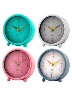 Wholesale Round Quartz Table Alarm Clock - Assorted Colours