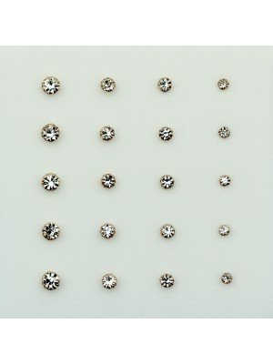 Round Rose Gold Crystal Nose Studs - Assorted Sizes
