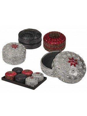 Wholesale Round Shape Jewellery Box Assorted Colours-8cm