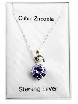 Wholesale Sterling Silver Claw Set Pendant with Crystal - Lilac (8mm)