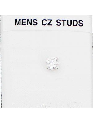 Wholesale Sterling Silver Round Men's CZ Stud-5mm