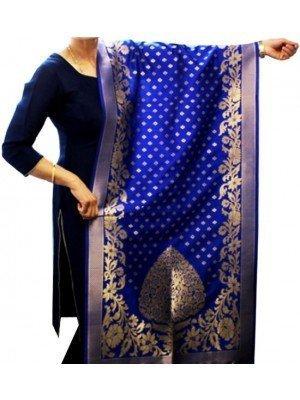 Wholesale Ladies Banarasi Brocket Silk Ethnic Dupatta - Royal Blue