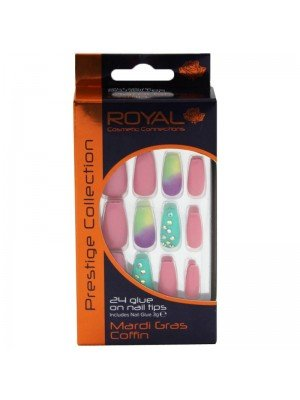Wholesale Royal Cosmetics 24 Glue-On Nail Tips - Mardi Gras Coffin