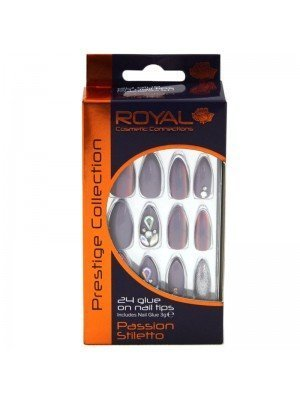 Wholesale Royal Cosmetics 24 Glue-On Nail Tips - Passion Stiletto