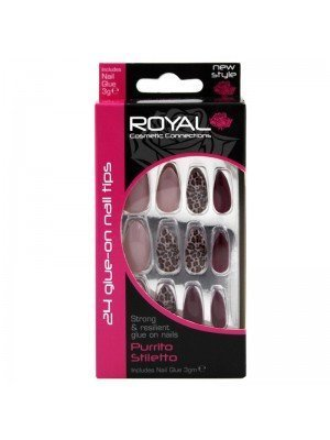 Wholesale Royal Cosmetics 24 Glue-On Nail Tips - Purrito Stiletto
