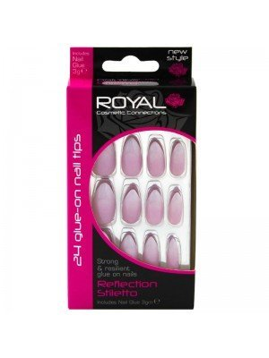 Wholesale Royal Cosmetics 24 Glue-On Nail Tips - Reflection Stiletto