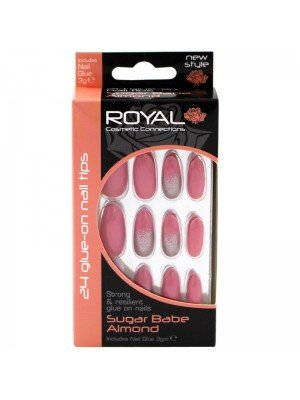 Wholesale Royal Cosmetics 24 Glue-On Nail Tips - Sugar Babe Almond