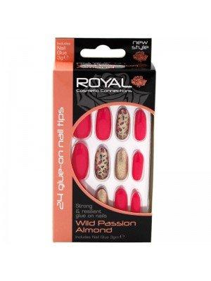 Wholesale Royal Cosmetics 24 Glue-On Nail Tips - Wild Passion Almond