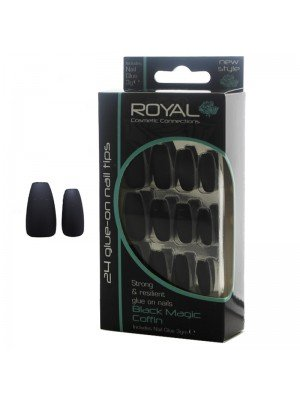 Wholesale Royal Cosmetics 24 Glue-On Nail Tips - Black Magic Coffin