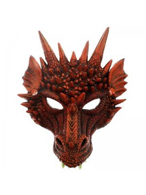 Rubber Dragon Mask - Red