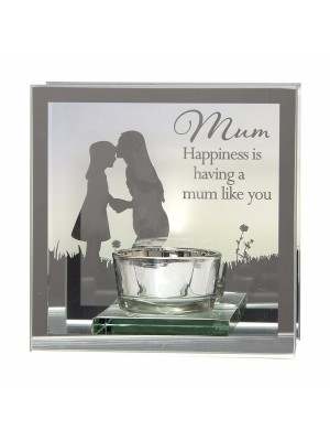 Wholesale Mirror Tealight Glass Candle Holder - Mum