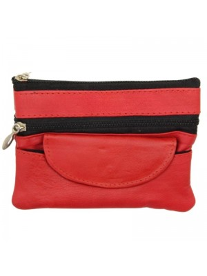 Wholesale Leather Coin Purse-Red(12cm x 9cm)